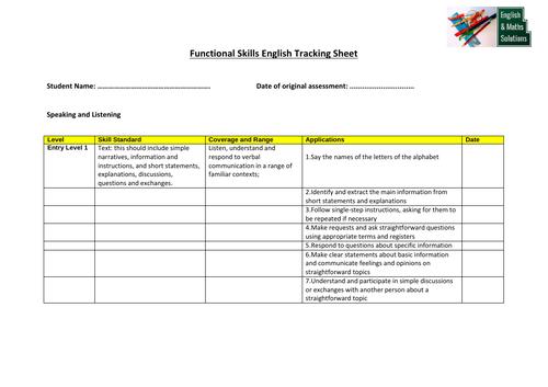 Functional Skills English Tracking Sheet