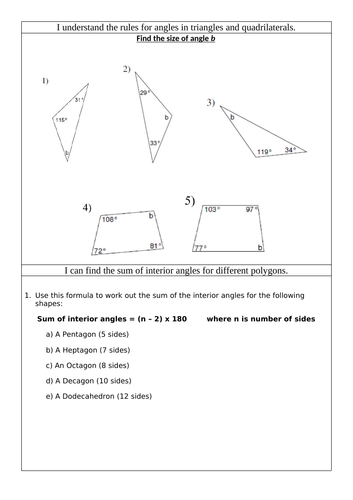 Sum of Interior Angles Worksheet
