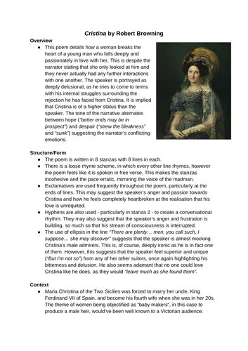 Cristina by Robert Browning summary sheet A Level English literature poetry