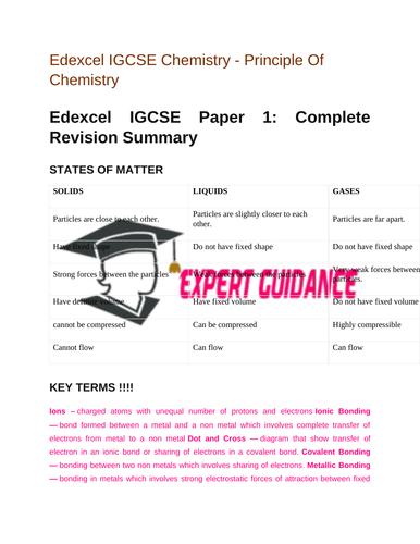 Edexcel IGCSE |Chemistry |Principle Of Chemistry| Complete Revision Summary