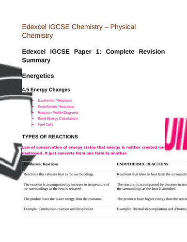 Edexcel IGCSE |Chemistry| Physical Chemistry |Complete Revision Summary
