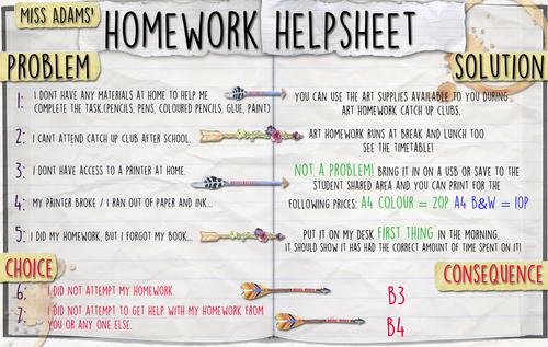 Homework Help Sheet
