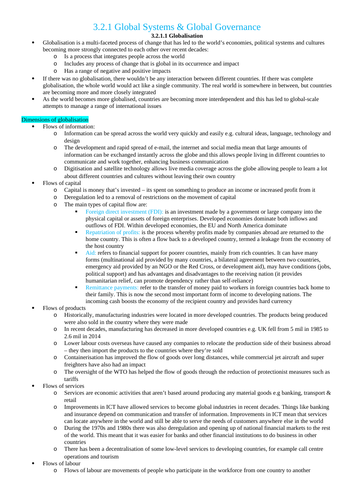 AQA A-Level Geography: Human Revision Notes