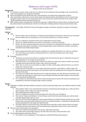 OCR A-Level Psychology: Biological Core Studies