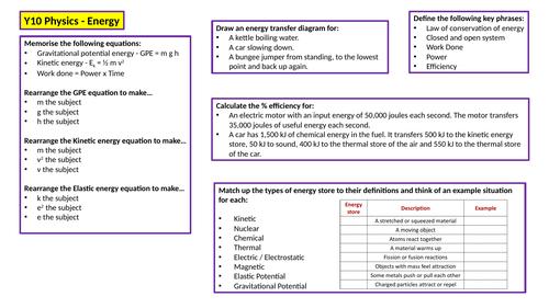 KS4 Physics Revision Mat - Energy