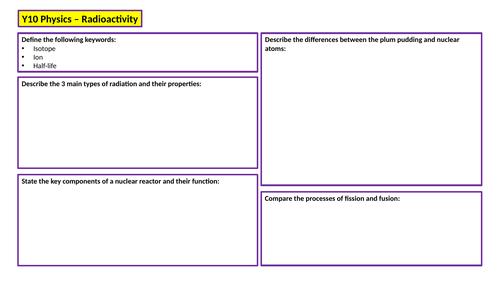 KS4 Physics Revision Mat - Radioactivity