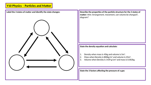 KS4 Physics Revision Mat - Particles & Matter