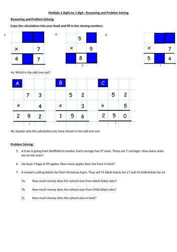 Multiplying 2 digit by 1 digit numbers