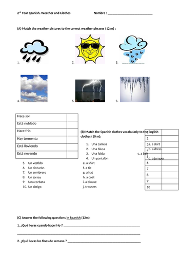 Spanish test on weather and clothes