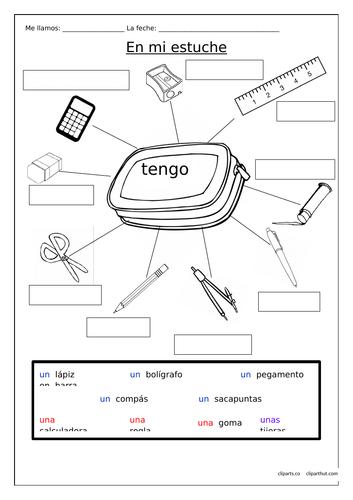 SPANISH - Pencil case items - EN MI ESTUCHE TENGO...