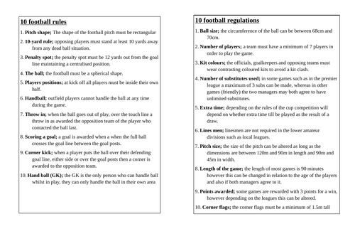 Football Rules and Regulations