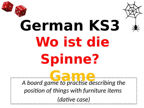 KS3 German Game: Wo ist die Spinne?