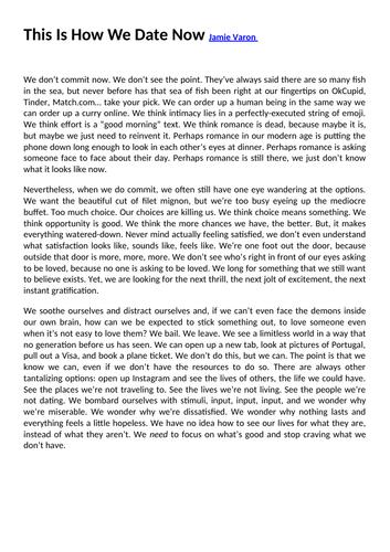 AQA GCSE Language mock paper 2 - dating