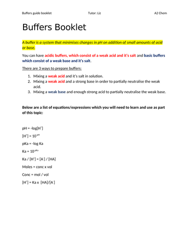Buffers guided calculation/help booklet