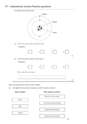 AQA Physics Atomic structure