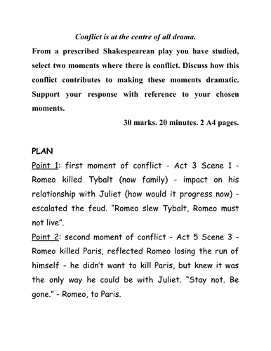 Romeo and Juliet - sample plan and answer