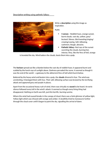 Paper 1 Q5 model response to image -pathetic fallacy