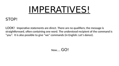 Imperatives