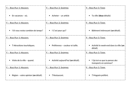 GCSE AQA 2019 Role-Play Mini Flashcards Independent Revision