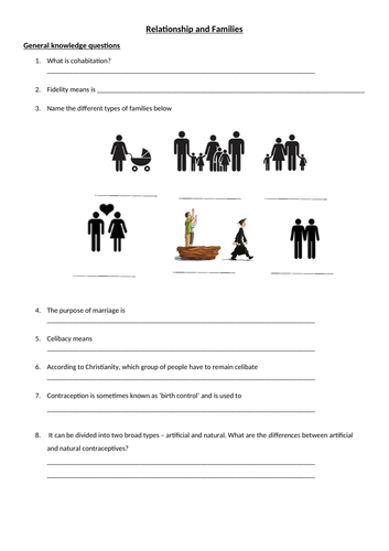 OCR Relationship and Family Booklet