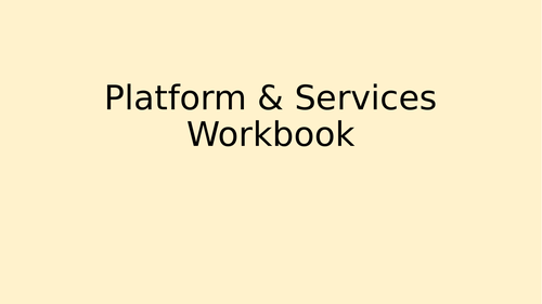 BTEC DiT - Platforms & Services