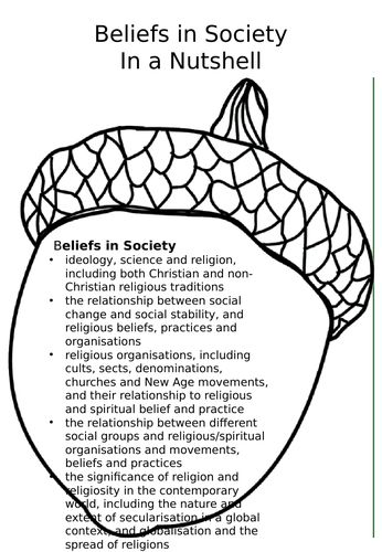 A-level Sociology - In a Nutshell - Beliefs in Society Revision Booklet