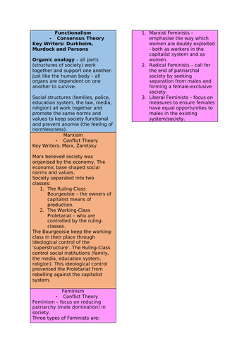 Sociological Theories Bookmark