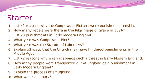 Crime and Punishment- the effects of the Gunpowder Plot, 1605