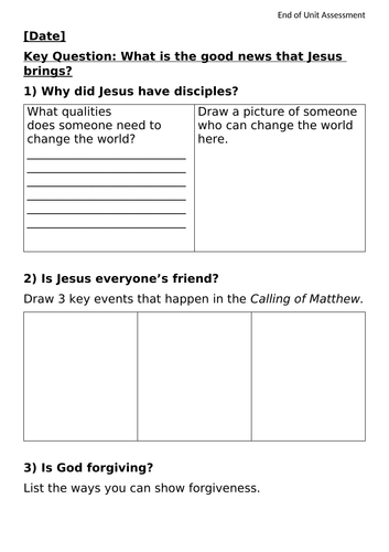 KS1 What is the good news that Jesus brings? Worksheet
