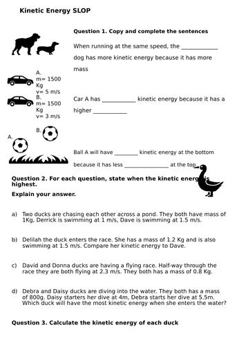Kinetic energy worksheet