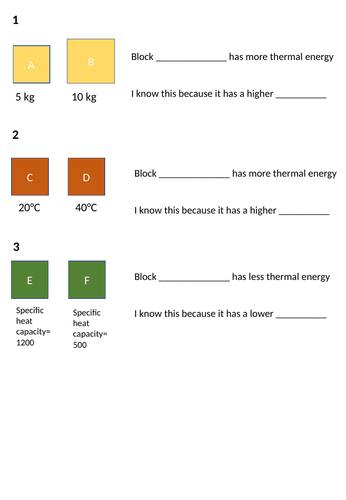 Specific heat capacity worksheet