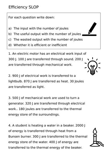 Efficiency worksheet