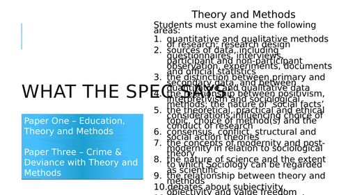 A-level Sociology - Theory and Methods Lessons