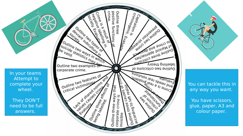 A-level Sociology Crime and Deviance Bike Wheel Revision Activity