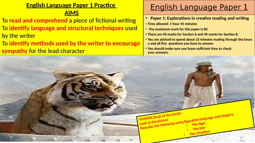 English Language Paper 1 Lessons (GCSE)