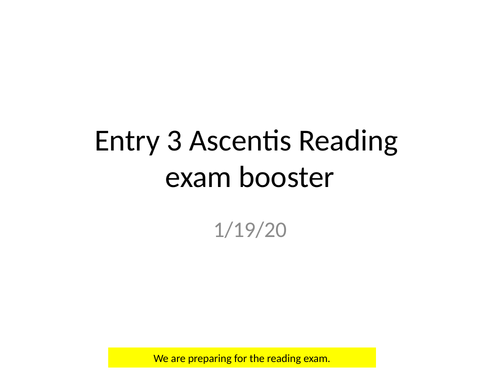 Entry 3 ESOL  reading  exam booster, use of apostrophe, alphabetical ordering, text features