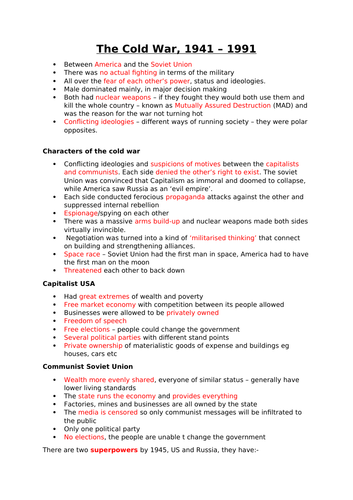 GCSE History Cold War Revision notes