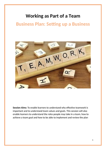 Level 1 Employability: Team Work Task Booklet - Create a Business Plan for a New Business Venture