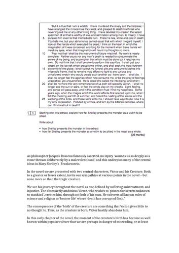 Exemplar response - Frankenstein