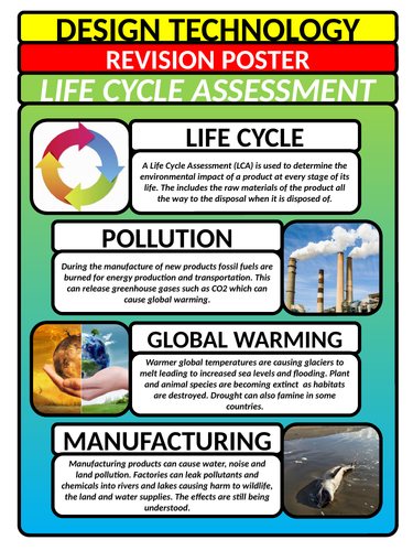GCSE Design Technology Revision Poster - Life Cycle Assessment LCA