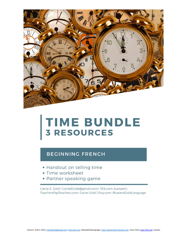 Telling Time Bundle: French