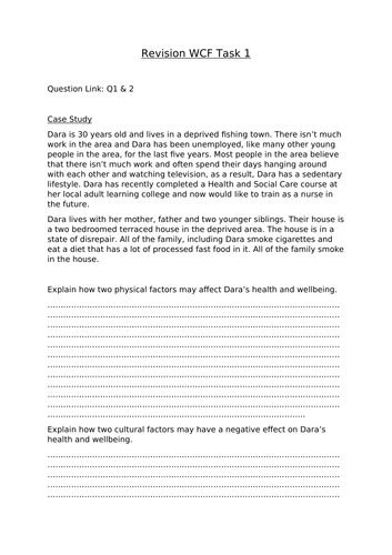 BTEC Health and Social Care Component Three Case Study Task- Whole Class Feedback