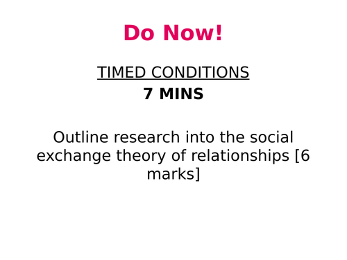 Relationships Lesson 7 - Theories of romantic relationships - Equity theory