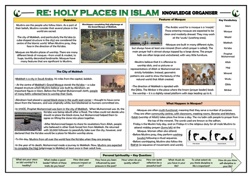 RE - Holy Places in Islam Knowledge Organiser!