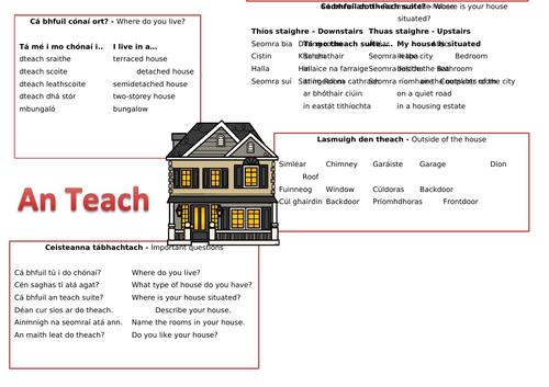 Mo Theach - My House Word Mat