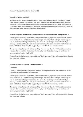 Kensuke's Kingdom Example Diary Entries