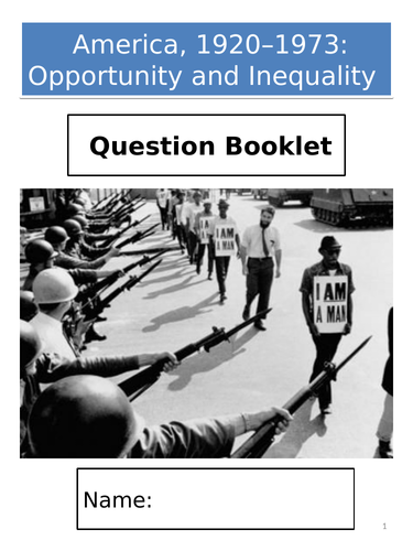 AQA GCSE History; America, 1920–1973: Opportunity and Inequality - Exam Question Booklet