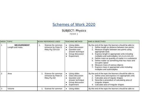 Physics year 10 schemes of work for IGCSE