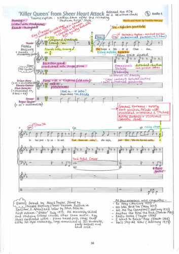 Killer Queen by Queen - Detailed colour-coded score analysis - Edexcel GCSE Music 9-1