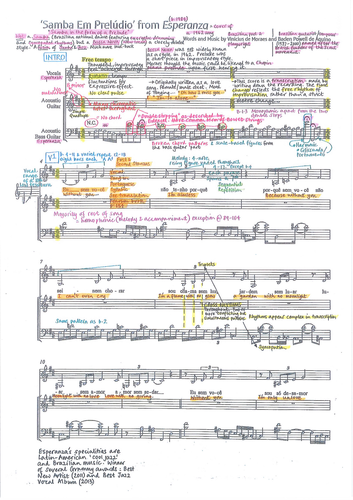 Samba em Preludio - E Spalding - Detailed colour-coded score analysis - Edexcel GCSE Music 9-1